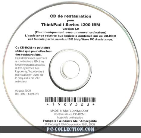 CD de réstauration ThinkPad i Series 1200