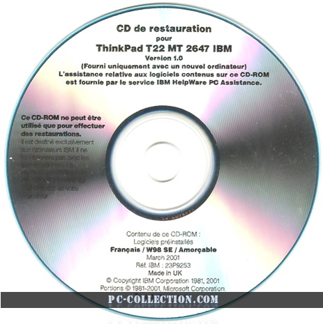 CD de Restauration ThinkPad T22 2647